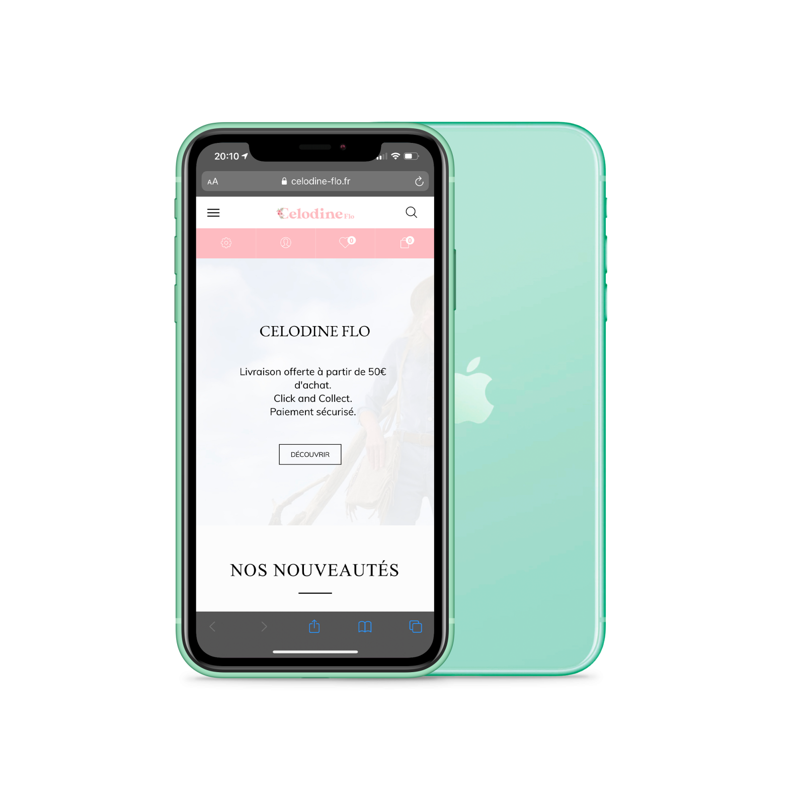 Mockup iPhone - boutique en ligne - Boutique Celodine Flo Saint-Georges-de-Didonne